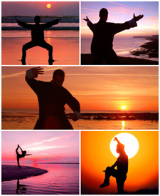Sunset Tai Chi collage